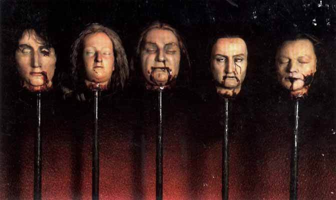 Condemned heads on the stake