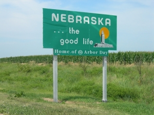 Nebraska's welcoming sign